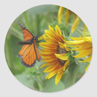 Butterfly Landing Classic Round Sticker