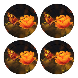 Butterfly Landing on Flower Button Covers