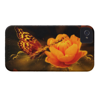 Butterfly Landing on Flower iPhone 4 Case-Mate Case