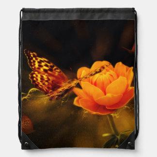 Butterfly Landing on Flower Drawstring Backpack