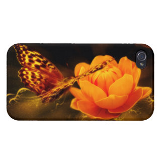 Butterfly Landing on Flower iPhone 4 Cases