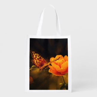 Butterfly Landing on Flower Reusable Grocery Bags