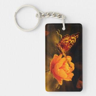 Butterfly Landing on Flower Single-Sided Rectangular Acrylic Keychain
