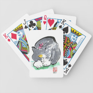 Butterfly Lands on Gray Tuxedo Cat, Sumi-e Bicycle Playing Cards