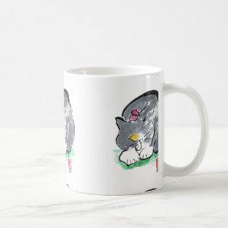 Butterfly Lands on Gray Tuxedo Cat, Sumi-e Coffee Mug
