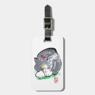 Butterfly Lands on Gray Tuxedo Cat, Sumi-e Luggage Tag