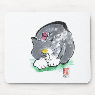 Butterfly Lands on Gray Tuxedo Cat, Sumi-e Mouse Pad