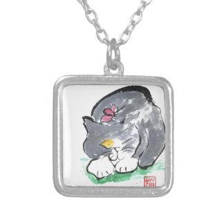 Butterfly Lands on Gray Tuxedo Cat, Sumi-e Pendants