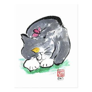 Butterfly Lands on Gray Tuxedo Cat, Sumi-e Postcard