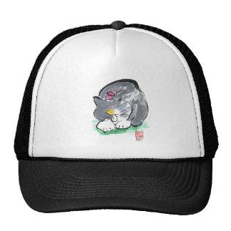 Butterfly Lands on Gray Tuxedo Cat, Sumi-e Trucker Hat
