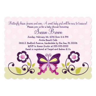 Butterfly Lane & Flowers Baby Shower Invitation