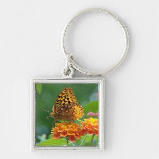 Butterfly & Lantana Flowers Keychain