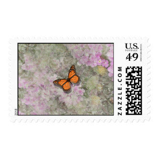 Butterfly ~ Lantana Flowers Postage Stamp