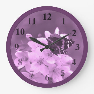 Butterfly Lavender Large Wall Clock by Janz
