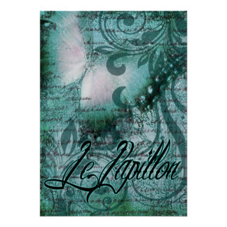 Butterfly- Le Papillon | teal Poster