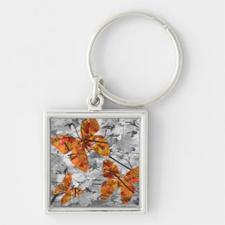 Butterfly Leaves Keyring Silver-Colored Square Keychain