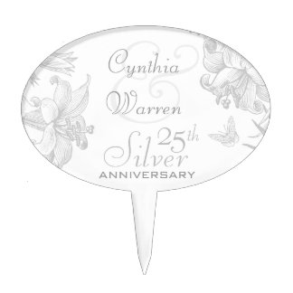 Butterfly Lilies 25th Silver Wedding Anniversary Cake Topper