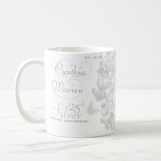 Butterfly Lilies 25th Silver Wedding Anniversary Coffee Mug