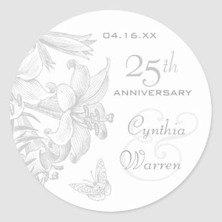 Butterfly Lilies Silver 25th Wedding Anniversary Classic Round Sticker