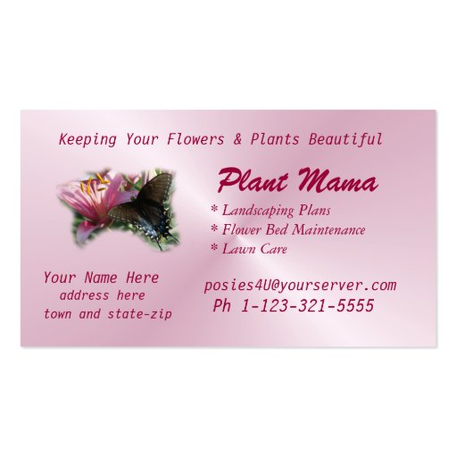 Butterfly & Lily Business Card- customize
