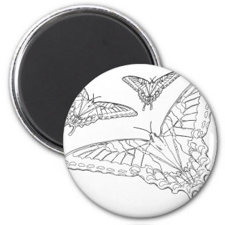 Butterfly Line Drawing 2 Inch Round Magnet