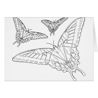 Butterfly Line Drawing Greeting Card