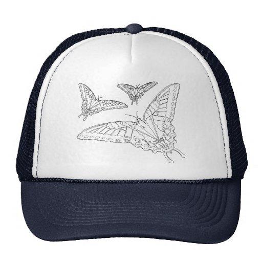Line Drawing Hat : Butterfly line drawing trucker hat zazzle