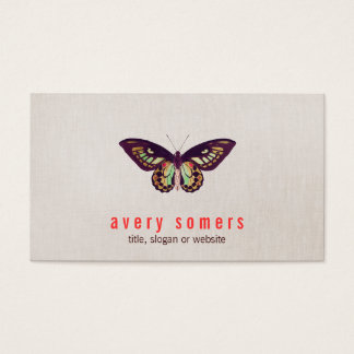 Butterfly Linen Look Business Card
