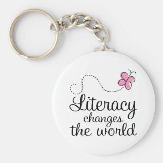 Butterfly Literacy Changes The World Gift Basic Round Button Keychain