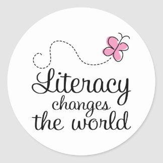 Butterfly Literacy Changes The World Gift Classic Round Sticker