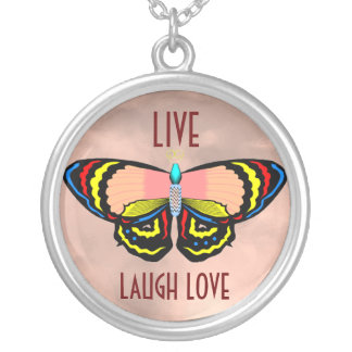 BUTTERFLY - LIVE LAUGH LOVE ROUND PENDANT NECKLACE
