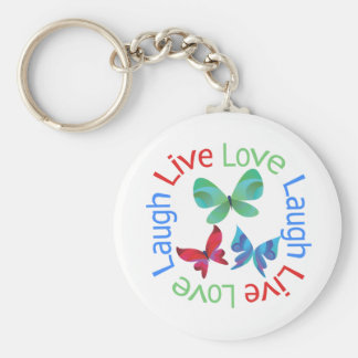 Butterfly - Live Love Laugh Basic Round Button Keychain