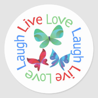 Butterfly - Live Love Laugh Classic Round Sticker