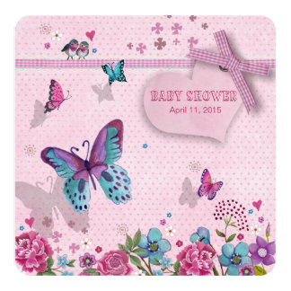 Butterfly Love Baby Shower Girl 5.25x5.25 Square Paper Invitation Card