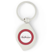 Butterfly Love   Deep Red Lace Personalized Keychain