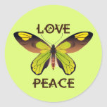 BUTTERFLY - LOVE - PEACE CLASSIC ROUND STICKER
