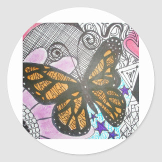 Butterfly Love Round Stickers