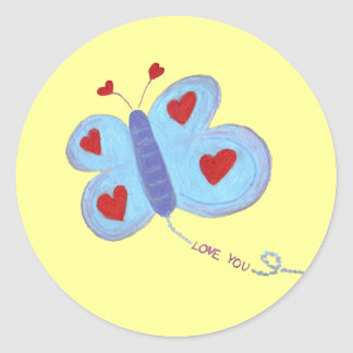 Butterfly Love You Classic Round Sticker