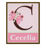 Butterfly Lullaby Letter & Name Wall Art Poster