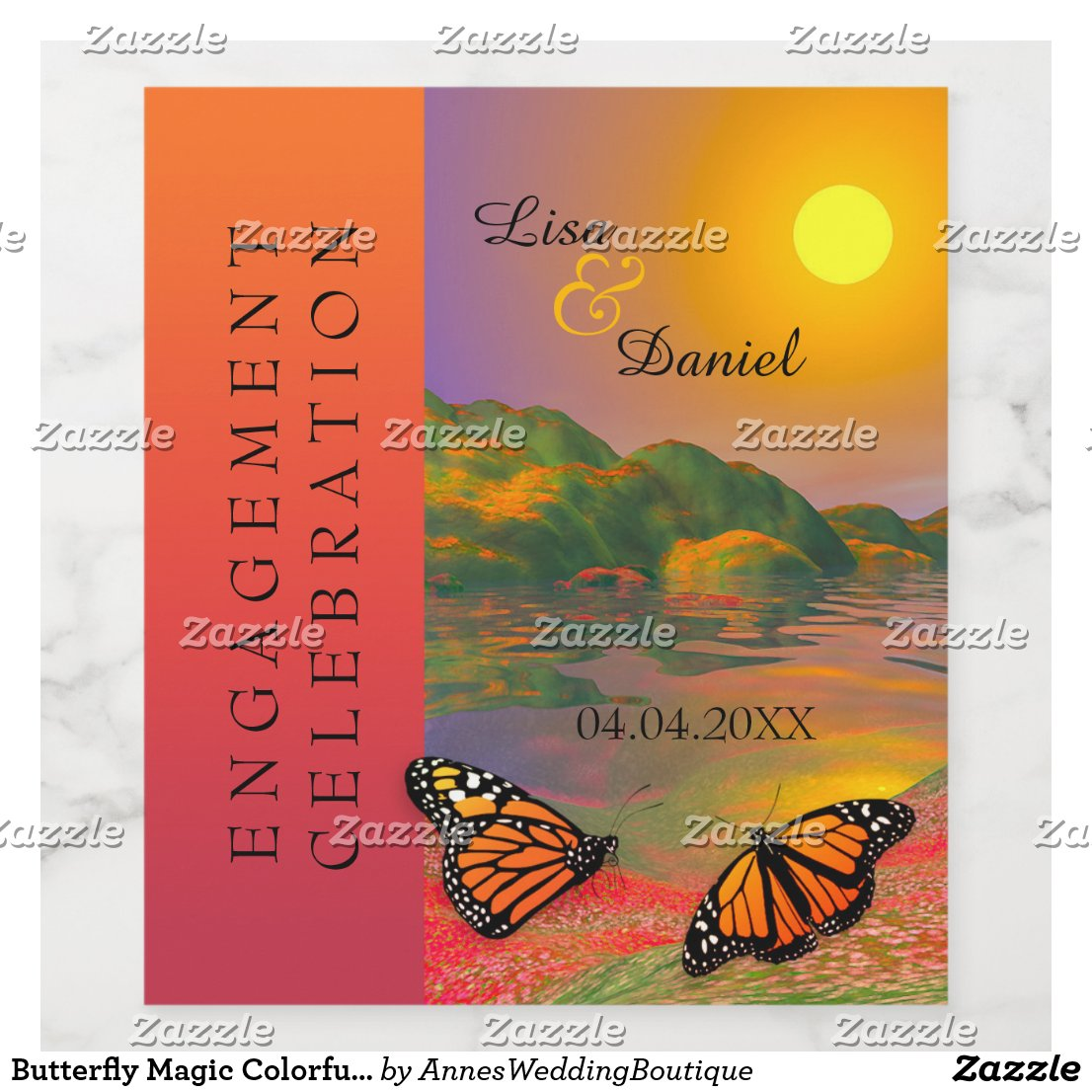 Butterfly Magic Colorful Engagement Wine Label