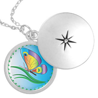 Butterfly Magic Round Locket Necklace