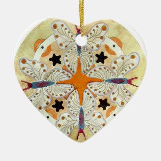Butterfly Mandala, mixed media Ceramic Ornament