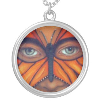 Butterfly Mask -Butterfly eyes Round Pendant Necklace