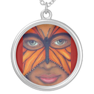Butterfly Mask cropped(Excellent PIC!!) Silver Plated Necklace