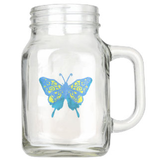 Butterfly Mason jar drink mug By Lighthouse Route