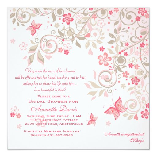"Butterfly Meadow Invitation 5.25"" Square Invitation Card"