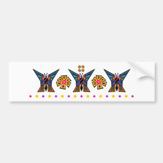 Butterfly Medallion Stripe With Dot Row Bumper Sticker