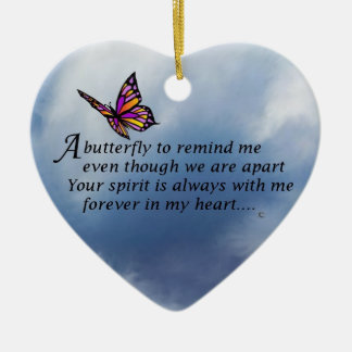 Butterfly  Memorial Poem Double-Sided Heart Ceramic Christmas Ornament