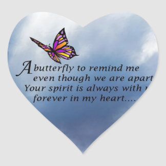 Butterfly Memorial Poem Heart Sticker