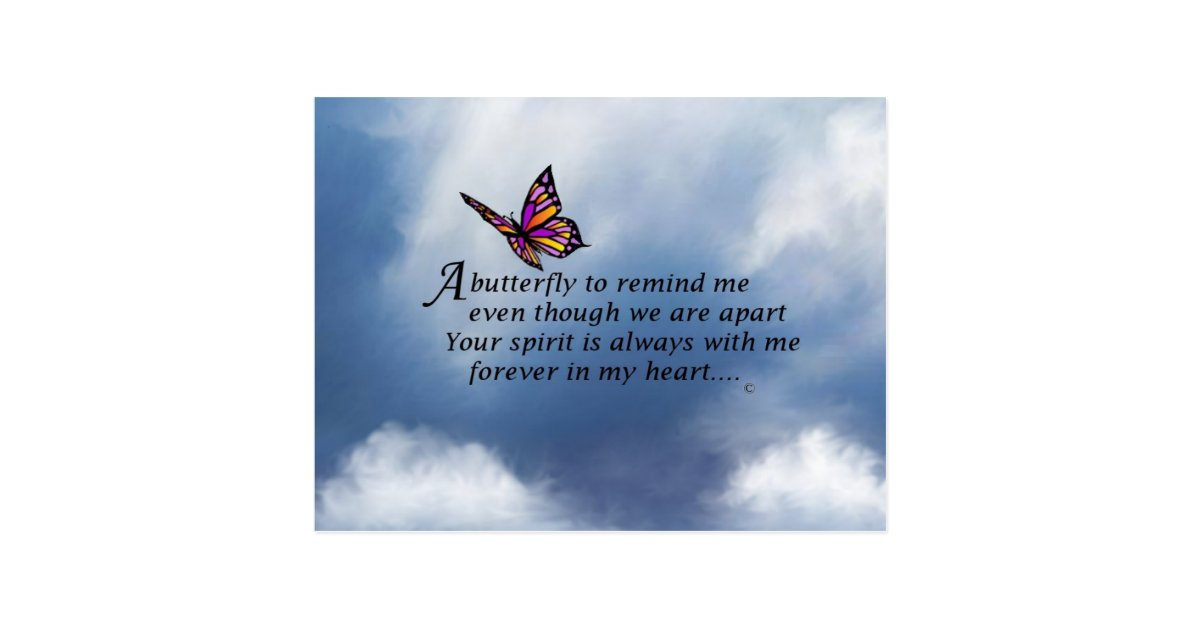 butterfly memorial poem postcard